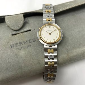 Hermès Classic 2-Tone H Band Clipper Watch w/Pouch